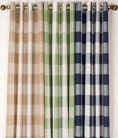 Linen+Check+Grommet+Top+Curtains