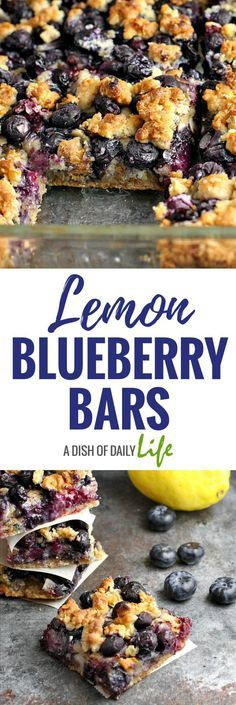 Lemon Blueberry Bars...lemon zest combined withthe delicious taste of blueberries and a yummy oatmeal crust! Dessert | Fruity desserts | bar cookies | cookie bars | baking with fruit | easy desserts | Blueberries