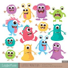 Little Monsters Digital Clipart Monster Birthday Parties, Monster Party, Mothers Day Crafts For Kids, Fathers Day Crafts, Cute Monsters, Little Monsters, Monster Clipart, Monster Illustration, Digital Stamps