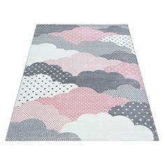 Pilvi plyysimatto pinkki - Tuppu-Kaluste Pink And Grey Rug, Grey Rugs, Jute, Bambi, Candy Colors, Rug Size, Playroom, Nursery, Kids Rugs