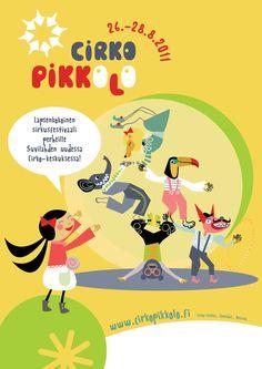 "Illustration for children's circus festival ""Cirko Pikkolo"" by Meri Mort."