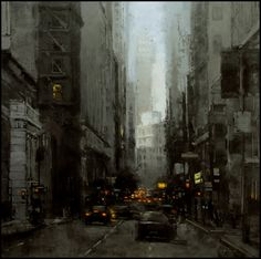 """The Traditional Work of Jeremy Mann - Cityscapes """"Early Morning Downtown"""" - Oil on Panel - 36 x 36 in. - Sold - Principle Gallery"""