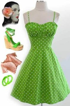 50s Style LIME with White POLKA DOTS ROUCHED Bust Bombshell PINUP Sun Dress