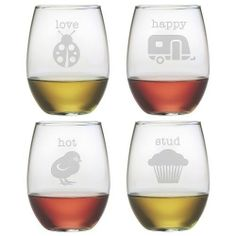 Stemless Wine Glasses Clever Names Set of 4 Hand Etched