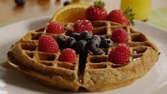 This filling waffles made with whole wheat flour, flax seed meal, and wheat germ are quite delicious. Serve with homemade blueberry syrup. Waffle Recipe Allrecipes, Waffle Recipes, Brunch Recipes, Paleo Breakfast, Breakfast Recipes, Blueberry Syrup, Flax Seed Recipes, Pancakes Easy, Waffle Iron