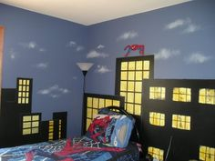 Looks like we just found Zander's new bedroom idea! :) Superhero bedroom paint spiderman, batman, hulk - Visit to grab an amazing super hero shirt now on sale! Boys Superhero Bedroom, Marvel Bedroom, Batman Bedroom, Kids Bedroom, Batman Superhero, Bedroom Themes, Bedroom Decor, Bedroom Ideas, Bedrooms