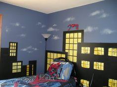 Looks like we just found Zander's new bedroom idea!  :)      Superhero bedroom paint spiderman, batman, hulk