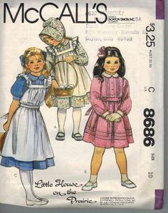 """Vintage 1983 McCall's Pattern #868 Size 10 Dresses """"Little House on the Prairie"""" #McCalls"""