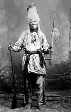 """Chief Washakie, c.1804-1900, a chief of the Eastern Shoshone Indians of Wyoming, was noted for his exploits in fighting and also for his friendship with the white pioneers. When wagon trains were passing through Shoshone country in the 1850s, Washakie and his people aided the overland travelers in fording streams and recovering strayed cattle. He was also a scout for the U.S. Army.   Photographed 1884. - """"I say again, the government does not keep its word!"""" Chief Washakie."""