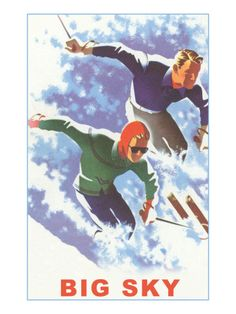Vintage Style Travel Poster - USA - Montana - Big Sky Winter Sports