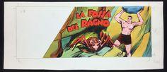 """Bruna, Franco - original cover for Dick Fulmine """"La fossa del ragno"""" - W.B."""