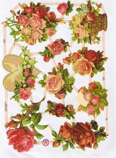 Old Victorian Scraps, Roses, Heart, Dove. Decoupage Vintage, Decoupage Paper, Big Flowers, Paper Flowers, Vintage Cards, Vintage Paper, Paper Art, Paper Crafts, Victorian Valentines