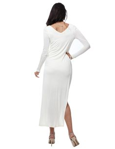 Casual Long Sleeve Deep Round Neck Fitted Jersey Maxi Dress With Side Slits #11foxy