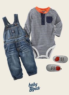 With a hint of orange, these stripes look just right with super soft OshKosh overalls. Add casual crib shoes and he's set for grandpa's.