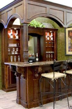 Bar for my AMAZING husband to build for the living room transformation Basement Bar Designs, Home Bar Designs, Basement Ideas, Garage Ideas, Basement House, Basement Bars, Gypsy Home, Pantry Laundry Room, Country Kitchen Cabinets