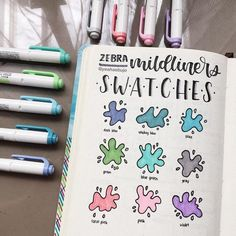 27 Essential stationery swatch bullet journal layouts for stationery addicts Best Bullet Journal Pens, Bullet Journal For Beginners, Bullet Journal Banner, Bullet Journal Notebook, Bullet Journal Layout, Bullet Journal Ideas Pages, Bullet Journal Inspiration, Bullet Journals, Swatch
