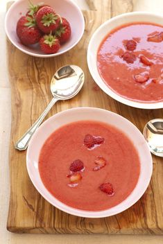 Strawberry Yogurt Soup l quart strawberries, hulled and halved  About l/3 cup confectioners' sugar or 3 tablespoons local honey  Grated rind of one orange  2/3 cup yogurt  l/2 cup fresh orange juice