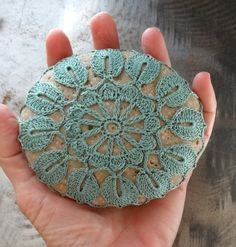 Crocheted Lace Stone Fern Green Handmade Lace Stone by Monicaj