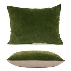 Image of Velvet & Linen Breakfast Cushion Cover - Olive
