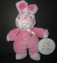 My 1st Bunny Pink Soft Baby Plush Stuffed Rattle Easter Just One Year Carters #JustOneYear