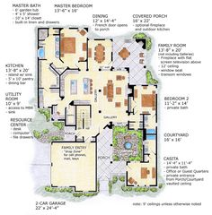 First Floor Plan of Craftsman   European   House Plan 56542 Master Bath access to laundry - perfect Walk in pantry - perfect Office area close to - but separate from - kitchen:  Perfect Designated mudroom/locker area at back entrance: Not adequate in this design...but probably modifiable