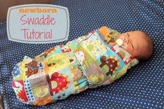 Link to the free pattern and step by step instructions on how to sew a baby swaddle. (Diy Step How To Sew) Quilt Baby, Baby Sewing Projects, Sewing For Kids, Easy Baby Blanket, Baby Swaddle Blankets, Diy Couture, Sewing For Beginners, Baby Crafts, Baby Patterns