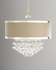 "Drum chandelier... Add a strip of silk navy and gold 5"" ribbon to the center for extra flair"