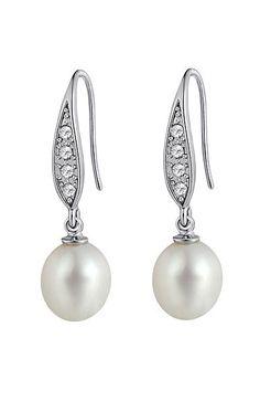 White Pearl & Crystal Lustere Earrings