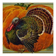 Thanksgiving Turkey in front of a Orange Pumpkin Poster - fall decor diy customize special cyo