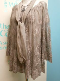 STUNNING LAGENLOOK EMBROIDERED LACE TUNIC & SCARF IN MOCHA FITS SIZES 12-16