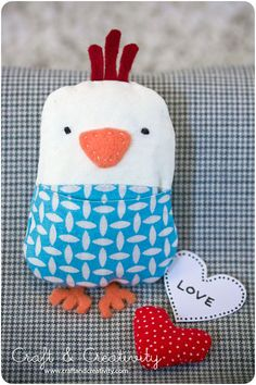 Good felty chick. heart goes in pocket.