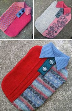 Love these hotties! Upcycled felted sweaters re-created into hot water bottle sleeves by Gaye Abandon