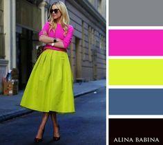 Alina Babina color palettes -- My favorite colors! Colour Combinations Fashion, Color Combinations For Clothes, Color Blocking Outfits, Fashion Colours, Colorful Fashion, Color Combos, Color Schemes, Illustration Mode, Colour Pallete