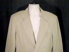 LL Bean Vintage Mens  40 Reg Sports Coat Jacket Blazer  100% Cotton  Beige  #LLBean #TwoButton