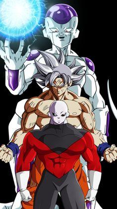 Jiren, Goku, and Frieza