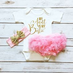 My Aunt Is My Bestie Sparkle Onesie with Chiffon Ruffle Pink Tutu Bloomers | Clothes for baby girls | Best Baby shower gift for a baby girl ever! Cassidy's Closet has the most exclusive boutique style sparkly baby girl clothes available.