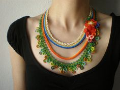 Tagetes Lucida ... Beaded Crochet Necklace -  Green Orange Yellow Blue - Colorful Flowers - Beadwork Necklace