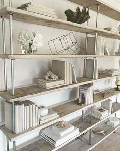 Salvaged Oak Industrial Bookshelf by RAKA MOD | Rustic Industrial Shelving | Whitewashed Furniture | Shelfie | Monochromatic Shelving Unti | Beach Decor | Nautical Decor | Nautical Room | Monochromatic Decor | Beige interiors | White Interiors | Beachy Decor | Beachy Furniture | Linen Covered Books | Style a Bookshelf