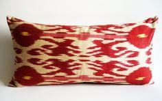 Sukan / Handmade Original Silk ikat Pillow Cover, Decorative pillow, Organic pillow, Anatolian pillow, 12x24 inch Red, Beige, Yellow Color. $69.95, via Etsy.