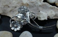 925 Sterling Silver Jewelry Vintage flower bouquet leaves circa  pin brooch  Art Deco st256 by VintageEstate86 on Etsy