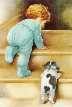 betsy pease pictures   Bessie Pease Gutmann Fabric Block Toddler Boy Puppy Image Printed onto ...