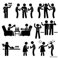 Vektor: Cocktail Party People Man Friend Gathering Enjoying Wine Beer