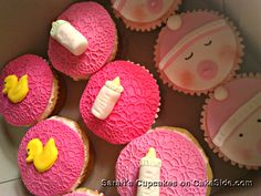 Baby Girl shower cupcakes by Sarah Aladdin on www.cakeside.com!