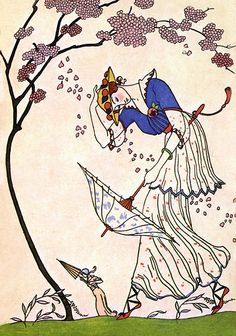 """Windy Spring Day"", c. 1910s, by George Barbier (French, 1882-1932)"