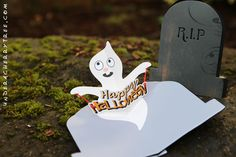Creepy on the outside but cute on the inside- R.I.P. Pop-Up card for Halloween | Under A Cherry Tree