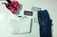 Toddler girl sz 3t gorgeous white turtleneck and blue Paris denim jeans outfit #ParisBlues #DressyEverydayHoliday