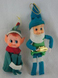 Pixie Elf Knee Hugger Christmas Ornaments Green Blue Santa & Green Holiday Elf