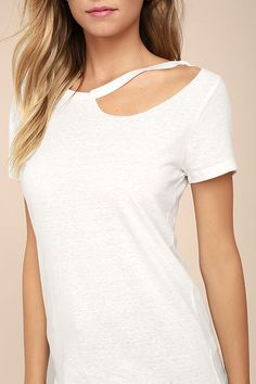 All eyes will be on you and your celebrity style in the Flashing Lights White Tee! Soft burnout jersey knit shapes a rounded neckline with a trendy cutout, and straight-cut bodice with short sleeves.