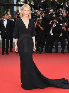 Cate Blanchett proved yet again that she's queen of the red carpet for the premiere of Sicario in a sexy black Armani Privé gown with a flowing train, paired with Van Cleef & Arpels Etruscan Inspiration cuffs in yellow gold.