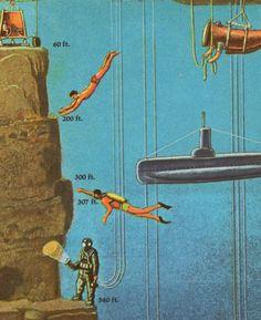 DIVING: free-diving, SCUBA-diving, & deep-sea diving illustration. Artist unknown